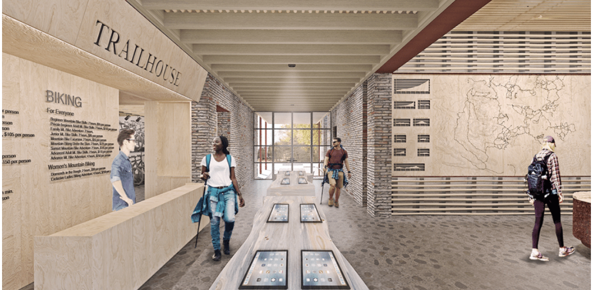 Trail House indoor area rendering