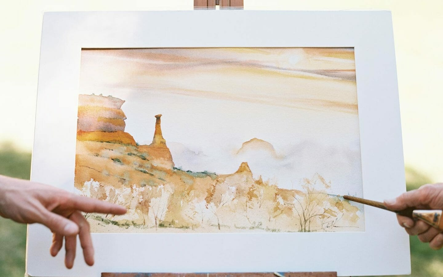 watercolor painting of a desert