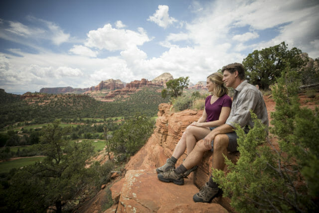 Couple sitting at Boynton Canyon