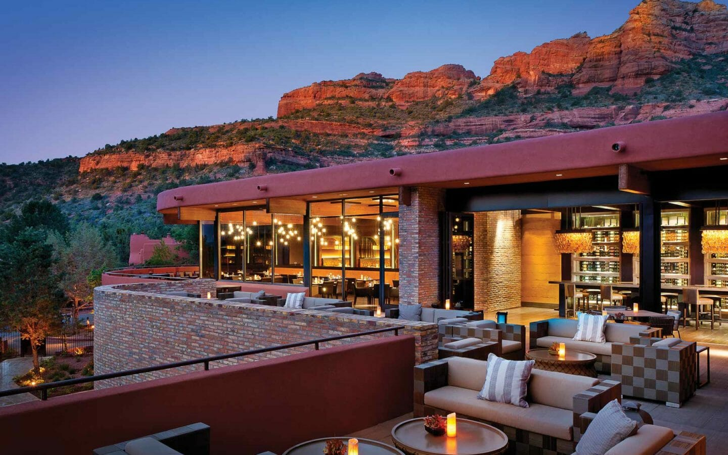 outdoor dining area on a restaurant patio in the evening