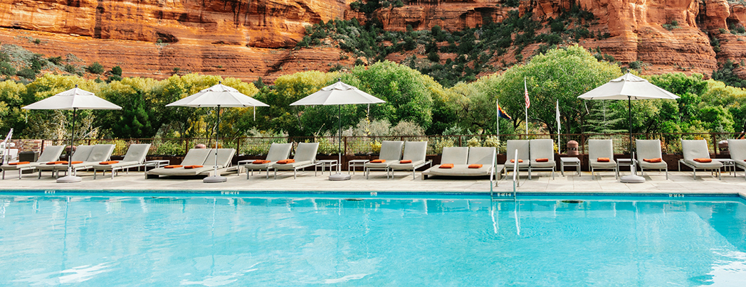 Enchantment Resort Pool with Boynton Canyon in the background