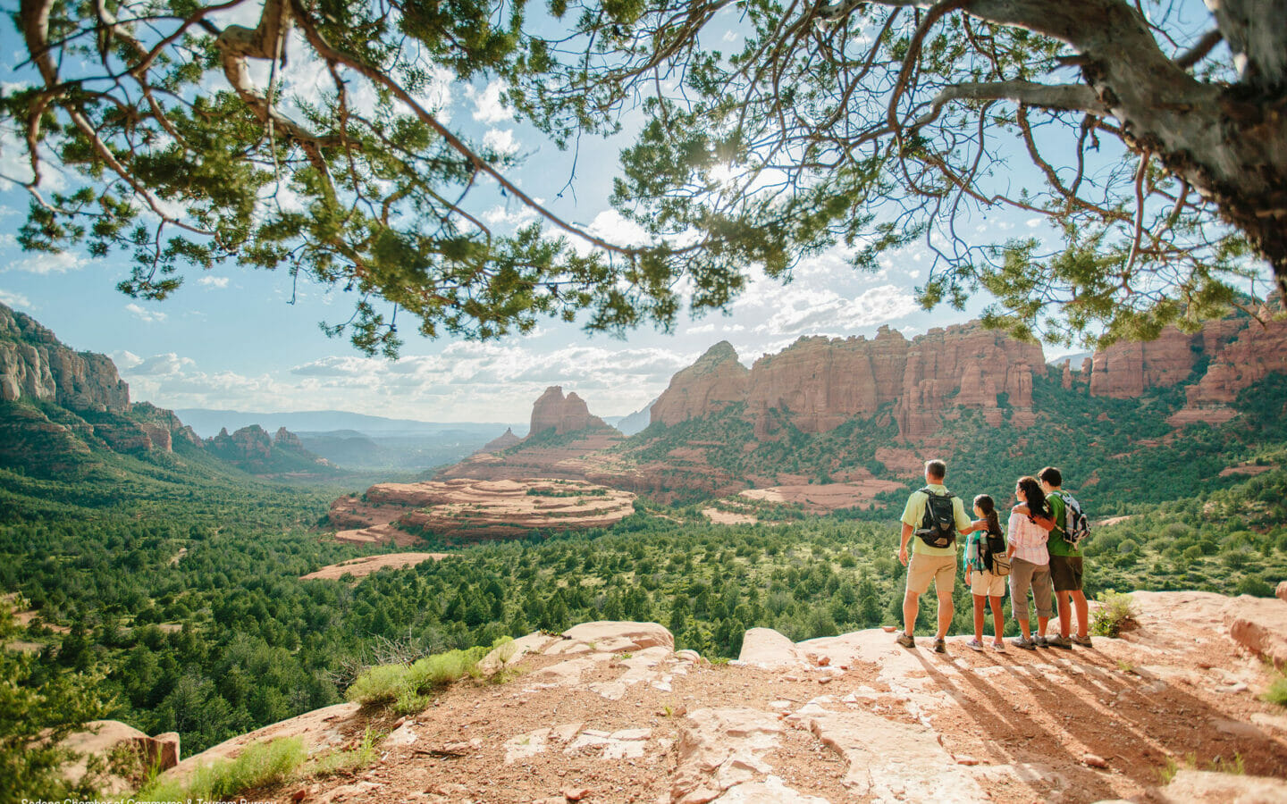 A family of hikers looking out over a vista in Sedona