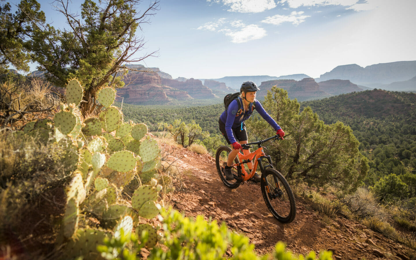 Woman Mountain Biker with Cactus and Vista
