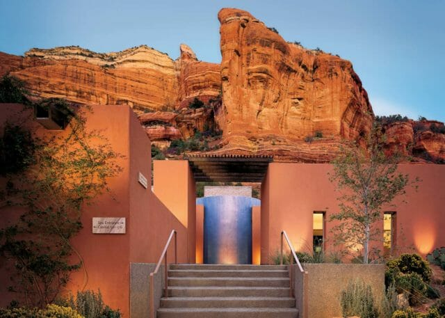 Steps leading to Spa entrance with canyon wall in the background