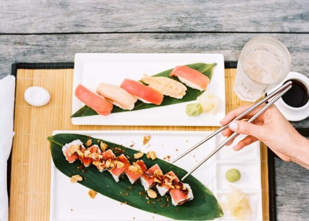 a beautifully plated sushi meal | Cove Eleuthera