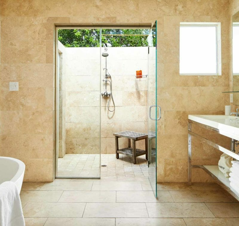 Oceanfront master suite bathroom The Cove Eleuthera