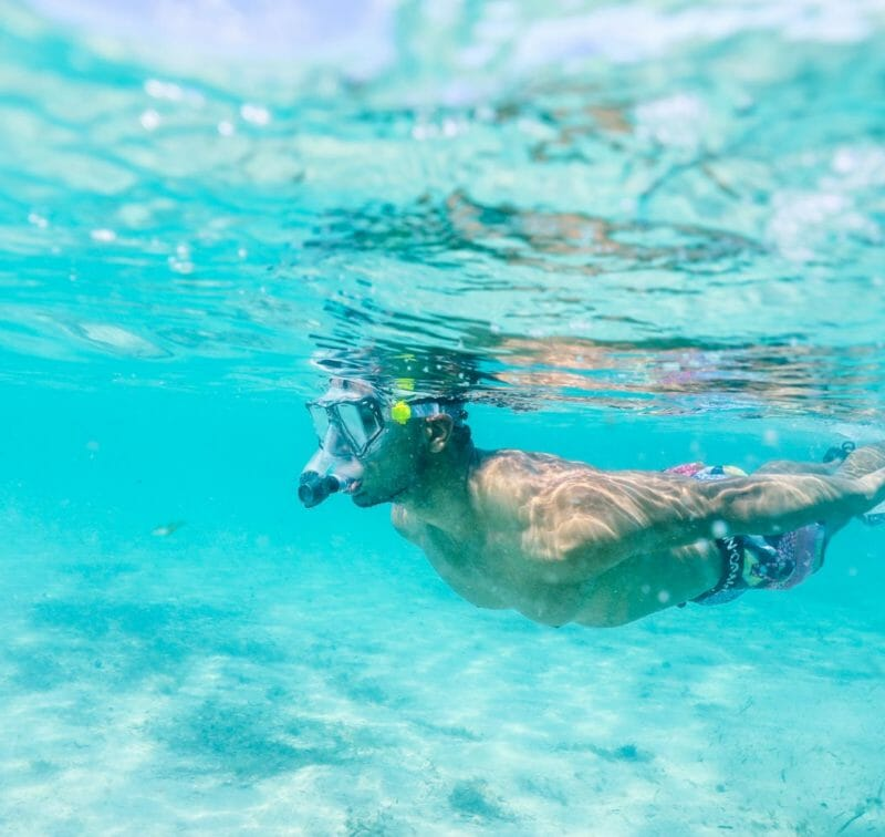man snorkeling in Bahamas | The Cove Eleuthera