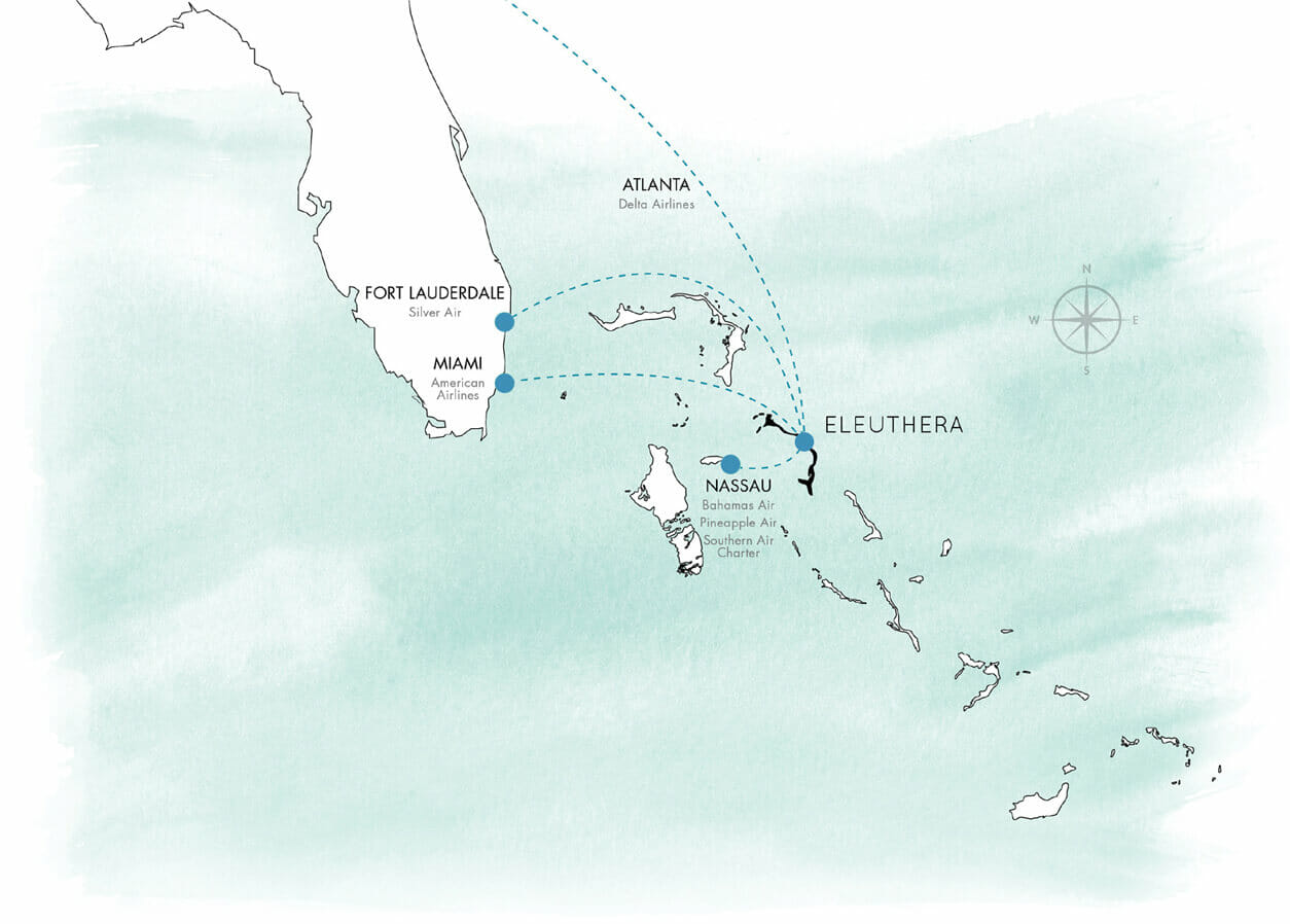 Eleuthera map in Bahamas