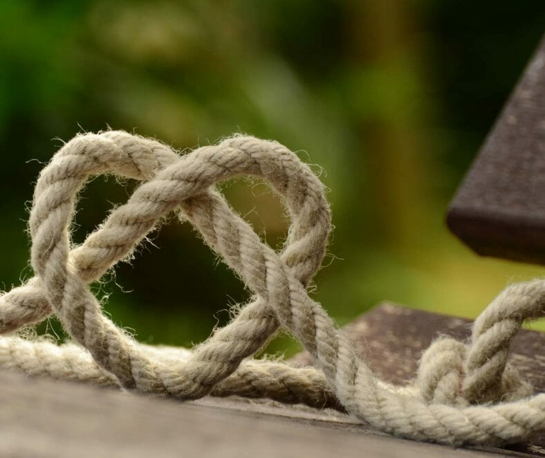 Rope tied in a heart shaped knot