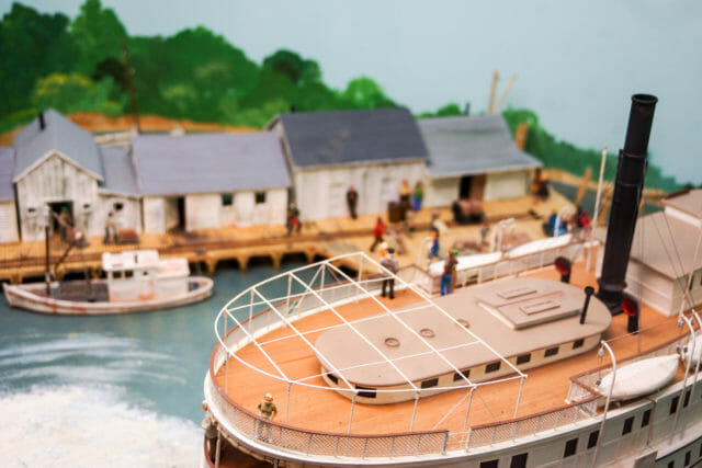 Close up of a Steamboat model