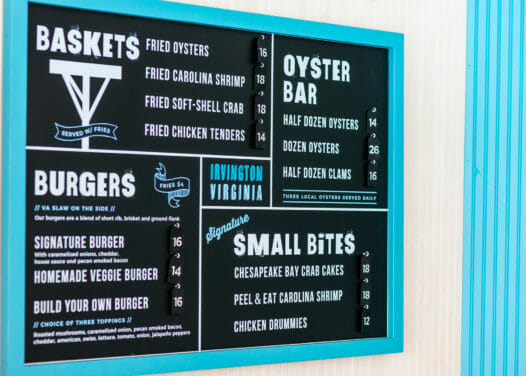Baskets, burgers, oyster bar, small bites menu with frame