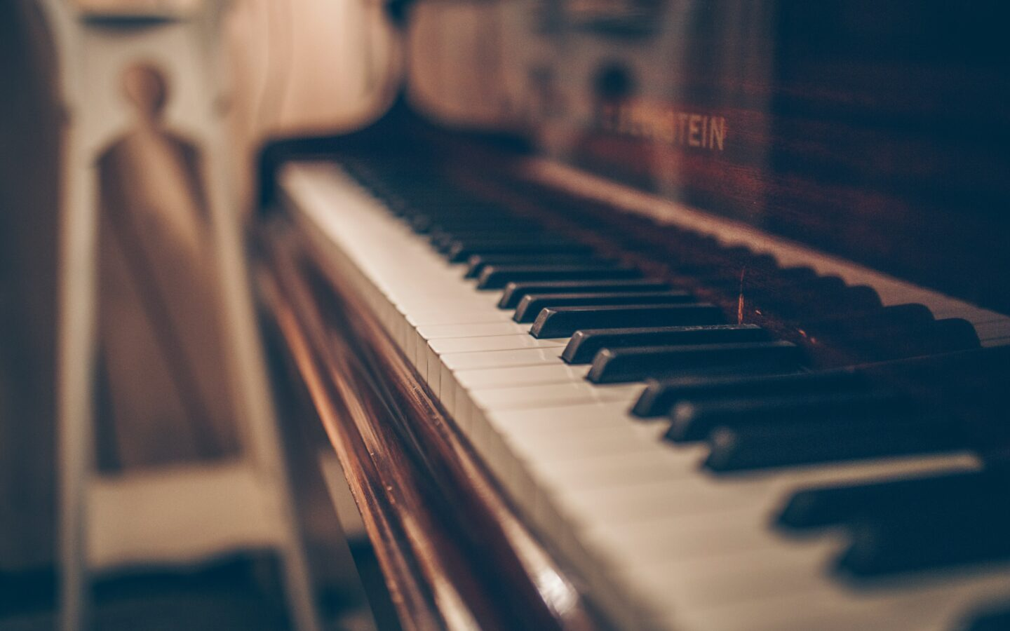 brown and white piano keys
