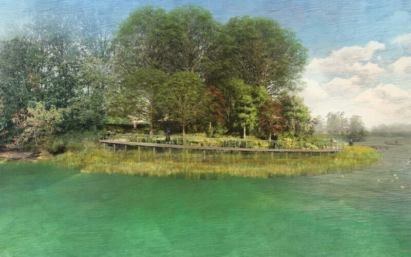 painting of water with trees in the background