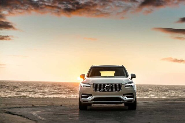 Volvo with sunset background